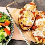 Fylt aubergine med kjøttdeig og sopp