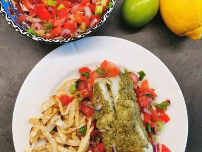 Bakt torsk med pesto