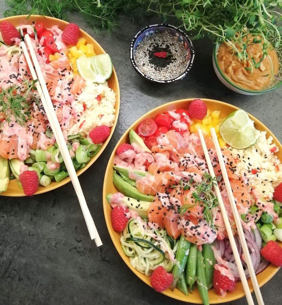 Lavkarbo poké bowl med laks
