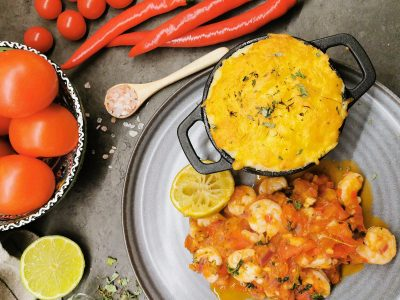 Lavkarbo scampi i tomatsaus