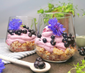 Lavkarbo blåbærostekake i glass